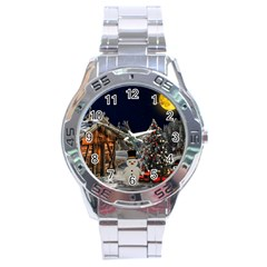 Christmas Landscape Stainless Steel Analogue Watch