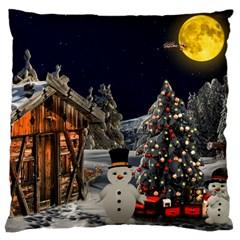 Christmas Landscape Large Cushion Case (one Side)