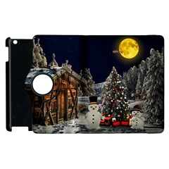 Christmas Landscape Apple Ipad 2 Flip 360 Case