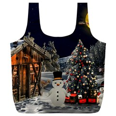 Christmas Landscape Full Print Recycle Bags (l)