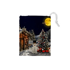Christmas Landscape Drawstring Pouches (small)