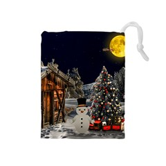 Christmas Landscape Drawstring Pouches (medium)