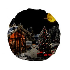 Christmas Landscape Standard 15  Premium Flano Round Cushions