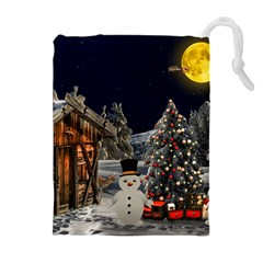 Christmas Landscape Drawstring Pouches (extra Large)