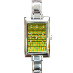 Tile Of Yellow And Green Rectangle Italian Charm Watch