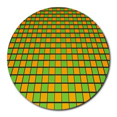 Tile Of Yellow And Green Round Mousepads