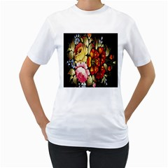 Ultra Texture Flowers Women s T Shirt (white) (two Sided)