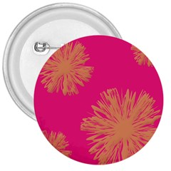Yellow Flowers On Pink Background Pink 3  Buttons