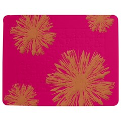 Yellow Flowers On Pink Background Pink Jigsaw Puzzle Photo Stand (Rectangular)