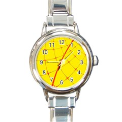 Yellow Redmesh Round Italian Charm Watch