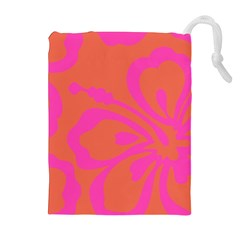 Flower Pink Orange Drawstring Pouches (Extra Large)