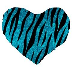 Skin3 Black Marble & Turquoise Marble (r) Large 19  Premium Heart Shape Cushion