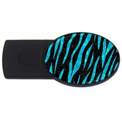 Skin3 Black Marble & Turquoise Marble Usb Flash Drive Oval (2 Gb)