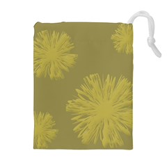 Flower Yelow Drawstring Pouches (Extra Large)