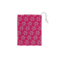 Flowers Green Light On Fushia Drawstring Pouches (XS)