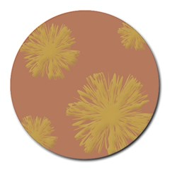 Flower Yellow Brown Round Mousepads