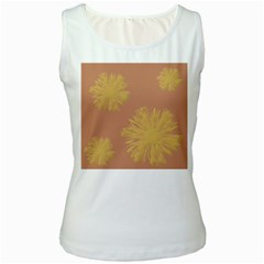 Flower Yellow Brown Women s White Tank Top