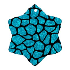 Skin1 Black Marble & Turquoise Marble Snowflake Ornament (two Sides)