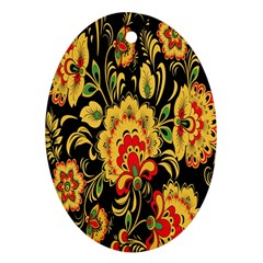 Flower Yellow Green Red Ornament (oval)