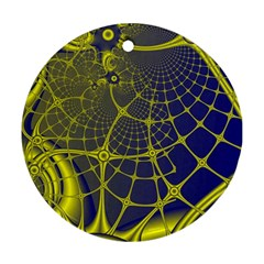Futuristic Looking Fractal Graphic A Mesh Of Yellow And Blue Rounded Bars Round Ornament (two Sides)