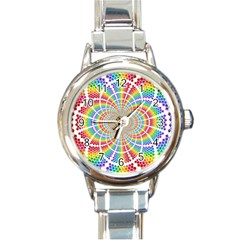 Color Background Structure Lines Round Italian Charm Watch