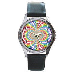 Color Background Structure Lines Round Metal Watch