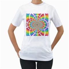 Color Background Structure Lines Women s T Shirt (white) (two Sided)