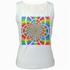 Color Background Structure Lines Women s White Tank Top
