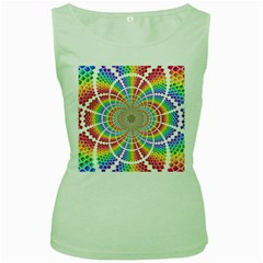 Color Background Structure Lines Women s Green Tank Top