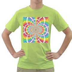 Color Background Structure Lines Green T Shirt