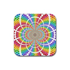 Color Background Structure Lines Rubber Square Coaster (4 Pack)