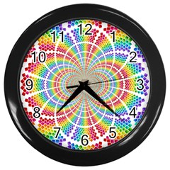 Color Background Structure Lines Wall Clocks (black)