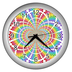 Color Background Structure Lines Wall Clocks (silver)