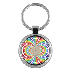 Color Background Structure Lines Key Chains (round)
