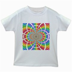 Color Background Structure Lines Kids White T Shirts