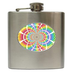 Color Background Structure Lines Hip Flask (6 Oz)