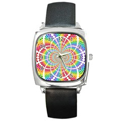 Color Background Structure Lines Square Metal Watch