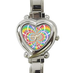 Color Background Structure Lines Heart Italian Charm Watch