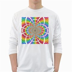 Color Background Structure Lines White Long Sleeve T Shirts