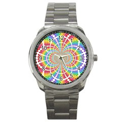 Color Background Structure Lines Sport Metal Watch
