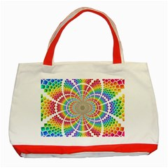 Color Background Structure Lines Classic Tote Bag (Red)
