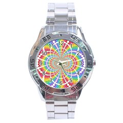 Color Background Structure Lines Stainless Steel Analogue Watch