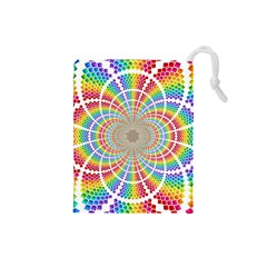 Color Background Structure Lines Drawstring Pouches (small)