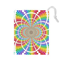 Color Background Structure Lines Drawstring Pouches (large)