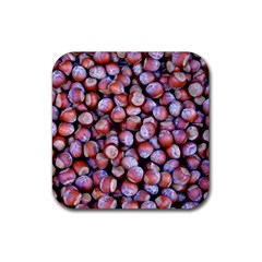 Hazelnuts Nuts Market Brown Nut Rubber Square Coaster (4 Pack)