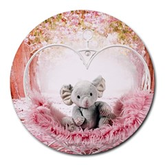 Elephant Heart Plush Vertical Toy Round Mousepads