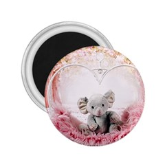 Elephant Heart Plush Vertical Toy 2 25  Magnets