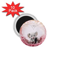 Elephant Heart Plush Vertical Toy 1 75  Magnets (10 Pack)