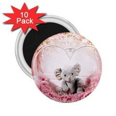Elephant Heart Plush Vertical Toy 2 25  Magnets (10 Pack)