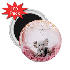 Elephant Heart Plush Vertical Toy 2 25  Magnets (100 Pack)